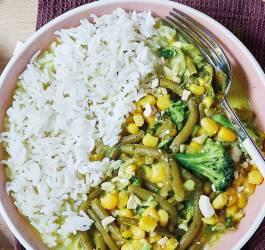 curry haricot vert maïs riz recette facile