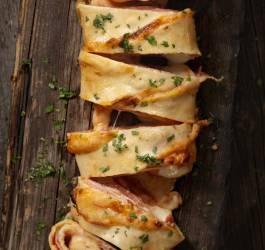 Pizza tressée poulet brocolis